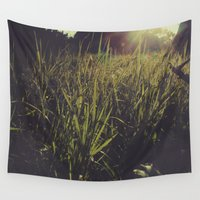 indiana Wall Tapestries featuring Indiana Grassy Sunshine by Amy J Smith Photography
