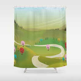 Cartoon hilly landscape Shower Curtain