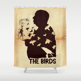 The Birds Hitchcock silhouette art Shower Curtain