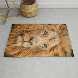 Lion watercolor painting #2 Rug