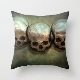 Three human skulls Throw Pillow