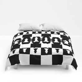 Chess Pieces Pattern - black and white Comforters