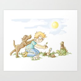 Beginning, Nature, Boy Planting A Seedling, Youth Illustration Art Print