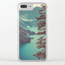 Vintage Blue Crater Lake and Trees - Nature Photography Clear iPhone Case