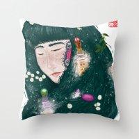 perfume Throw Pillows featuring Hair Perfume by Luna Kirsche