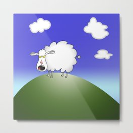 Bleat on a Hill Metal Print