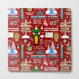 Buddy the Elf collage, Red background Metal Print