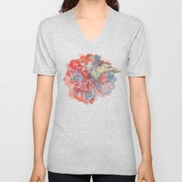 A Parakeet Breaks Through the Barrier Unisex V-Neck