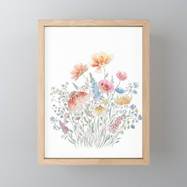wild flower bouquet and blue bird- ink and watercolor 2 Framed Mini Art Print