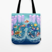 finding nemo Tote Bags featuring Sea Wallpainting by princessbeautycase