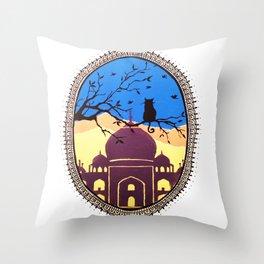 Indian cat view Throw Pillow