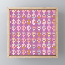 Colorful Painted Geometric Pattern in Purple and Pastel Framed Mini Art Print