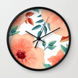 FLOWERS WATERCOLOR 2 Wall Clock