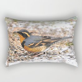 Male Varied Thrush Amid the Snow and Seed Rectangular Pillow