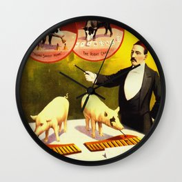 Vintage Circus Poster - Trained Pigs Wall Clock