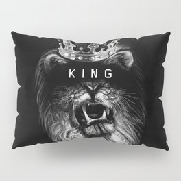 Lion, Lionart, King, Animal, Black, Minimal, Interior, Black White,Wall art, Art Print,Trendy decor Pillow Sham
