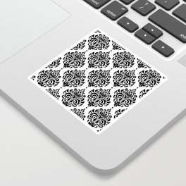 Black and White Damask Sticker