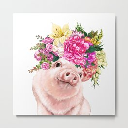 Flower Crown Baby Pig Metal Print