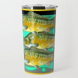 MODERN  MONARCH BUTTERFLIES FISH BLACK  AQUATIC  COLLAGE Travel Mug