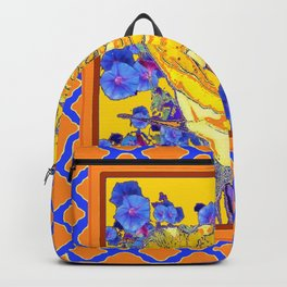 CORAL & BLUE LATTICE & YELLOW ROSE BLUE MORNING GLORY FLOWERS Backpack