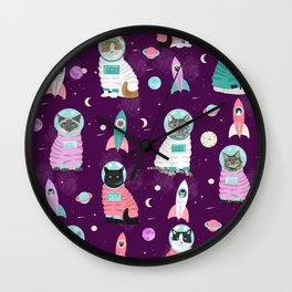Space Cats pet portraits cute cat gifts cat lady outer space cadet rockets Wall Clock