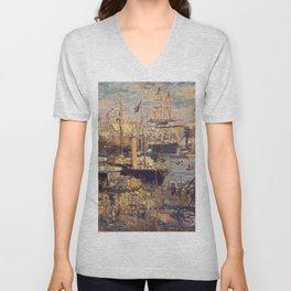 Claude Monet - Embankment in Le Havre.jpg Unisex V-Neck