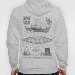 Vintage Viking Naval Ship History and Diagram Hoody