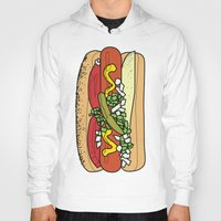 hot dog Hoodies featuring HOT DOG by RUMOKO x Vintage Cheddar