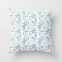 Chromosomes - Blues on White Throw Pillow