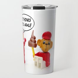"space lego meeting the ""arale wannabe"" monkey Travel Mug"
