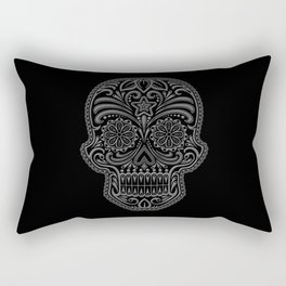 Intricate Gray and Black Day of the Dead Sugar Skull Rectangular Pillow