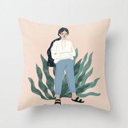mom jeans + birks Throw Pillow