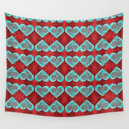 Abstract Turquoise and Bright Red Diamond Hearts Wall Tapestry