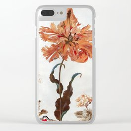 A Parrot Tulip Auriculas & Red Currants with a Magpie Moth Caterpillar Pupa by Maria Sibylla Merian Clear iPhone Case