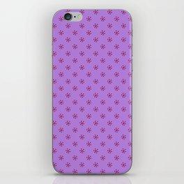 Burgundy Red on Lavender Violet Snowflakes iPhone Skin