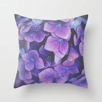 hydrangea Throw Pillows featuring Hydrangea by Christine Hall