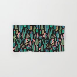 cactus on black Hand & Bath Towel