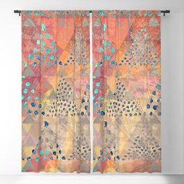 TRIANGLES DOTS LEAVES PATTERN-2 Blackout Curtain