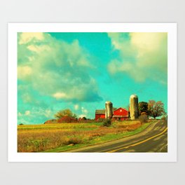 Red Barn, Blue Sky Art Print