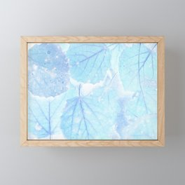Blue autumn leaves Framed Mini Art Print