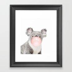 Koala with chewing gum Framed Art Print