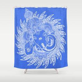 Ganesha Lineart Blue White Shower Curtain