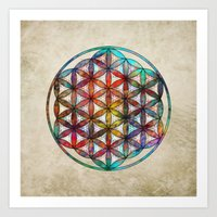 flower of life Art Prints featuring Flower of Life by Klara Acel