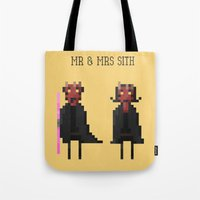 sith Tote Bags featuring Mr & Mrs Sith by Simon Alenius