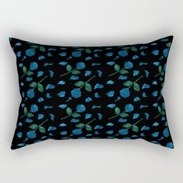 Blue roses with petals aquarela effect on black background pattern Rectangular Pillow