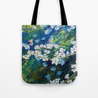 cherry blossoms Tote Bags featuring Cherry Blossoms by Michael Creese