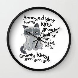 Grumpy Pussy Cat Wall Clock