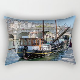 Old barge near the Pont Neuf - Paris Rectangular Pillow