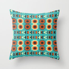 Ethnic triangles in blue Throw Pillow