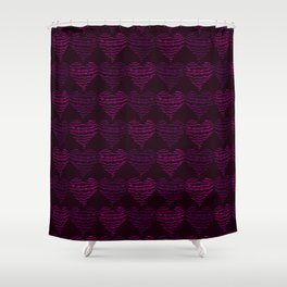 Squiggly Heart Pattern Purple Pink Shower Curtain